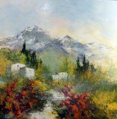 Eclat de rouge 2 - 80 x 80 - 80cm x 80cm Mixed Media Techniques, Bob Ross, Land Scape, Provence, Pastels, Landscape Paintings, Sketches, Baby Shower, Nature