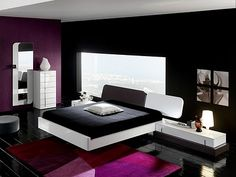 Black Bedroom Furniture 2011.....love this only instead of purple I would do deep shade of red with black/white photos on the walls