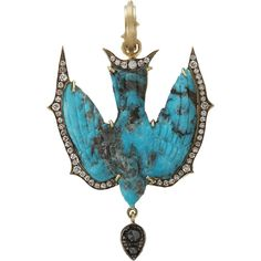 SYLVA CIE Hand Carved Turquoise Swallow Pendant $13750