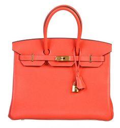 Hermès | Hermes Rouge Pivoine Togo Leather 35cm Birkin Handbag GHW