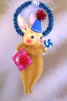 Birthday Bunny Vintage Style Feather Tree Ornament. $8.95, via Etsy.