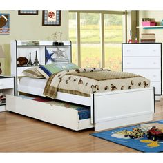 Furniture of America Trime Contemporary Full-size Platform Bed with Bookcase Headboard