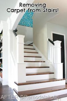 Stair Makeover removing carpet from stairs remodelaholic.com