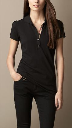 Burberry Brit Women CHECK PLACKET POLO SHIRT Color Black size; S in T-Shirts | eBay