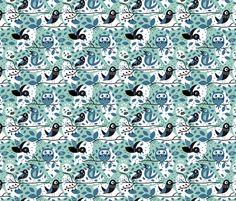 *Birds in blue fabric by bora on Spoonflower - custom fabric