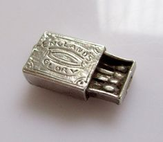 Silver Box of Matches  Engraved Charm -  21gbp