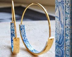 Hoops Earrings Hoop Atrio Tile Blue Portugal STAINLESS STEEL Azulejo University of Evora Delicate 1 Ships from USA gold tone - Women's style: Patterns of sustainability Jewelry Box, Jewelry Accessories, Fine Jewelry, Jewellery, Jewelry Making, Jewelry Cabinet, Etsy Jewelry, Emoji Jewelry, Handmade Jewelry