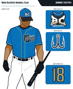 waco_bluecats_sunday_uniform Baseball Uniforms, Baseball Jerseys, Baseball Cap, Baseball Field Dimensions, Blue Back, Sports, Sunday, Fictional Characters, Hs Sports