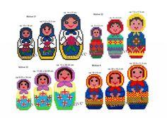 Babuschkas / Matryoshkas hama beads by Hobbie-Fee-Idee Diy For Kids, Crafts For Kids, Diy Perler Beads, Beading Patterns, Cross Stitch Embroidery, Pixel Art, Helmet, Handmade, Continents