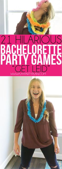 Use plastic leis for fun in these silly bachelorette party games