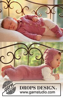 "DROPS Baby 18-14 - DROPS jacket, jumpsuit, bonnet and socks in ""Alpaca"". - Free pattern by DROPS Design"