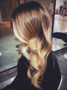 Soft, light brown to blonde, sun kissed ombre hair colour