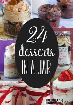 Want to know why desserts in a jar are the perfect sweet treat? They are cute, easy to prepare and transport, help with portion control, and they make great frugal DIY Mason jar gifts. Here are 24 dessert recipes in a jar to inspire you.