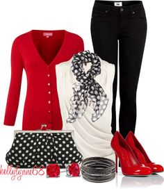 """Red, White, and Black"" by kellylynne68 ❤ liked on Polyvore"