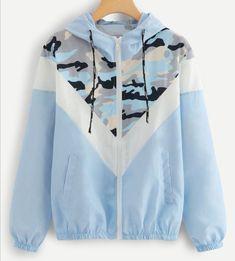 SweatyRocks Blue Mesh Panel Camo Print Hooded Jacket Activewear Drawstring Zip Up Hoodie Jacket 2018 Women Autumn Casual Tops - blue,s Hoodie Sweatshirts, Camouflage, Women's Camo, Coats For Women, Clothes For Women, Mode Mantel, Mode Hijab, Camo Print, Look Cool