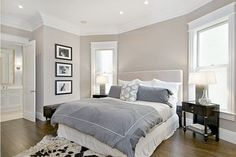 Benjamin Moore's Grege Avenue. Similar to London Fog. Ignore the bedroom, but this pic shows the wall color quite well.