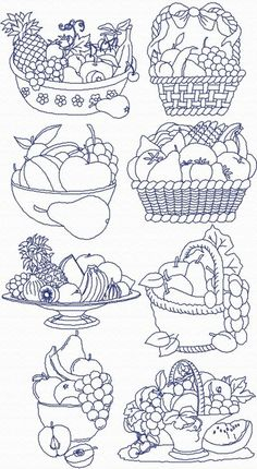 Advanced Embroidery Designs - Redwork Fruit Basket Set