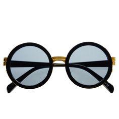 #round #high #fashion #sunglasses #retro #vintage #large #circle #designer #style #black #gold