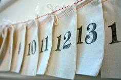 Reusable Muslin Bag Advent Calendar to use year after year at Christmas time with vintage numbers