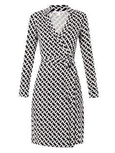 Diane Von Furstenberg Jeanne Silk Jersey Wrap Dress with cross over wrap and straight skirt and a self-tie belt Casual Dresses, Fashion Dresses, Wrap Dresses, Sleeve Dresses, Long Dresses, White Wrap Dress, Dress Black, Lady Like, Diane Von Furstenberg Dress