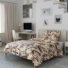 Flanelové povlečení hnědé béžové krémové ornament vzorované bordura Comforters, Blanket, Furniture, Home Decor, Products, Creature Comforts, Quilts, Decoration Home, Room Decor