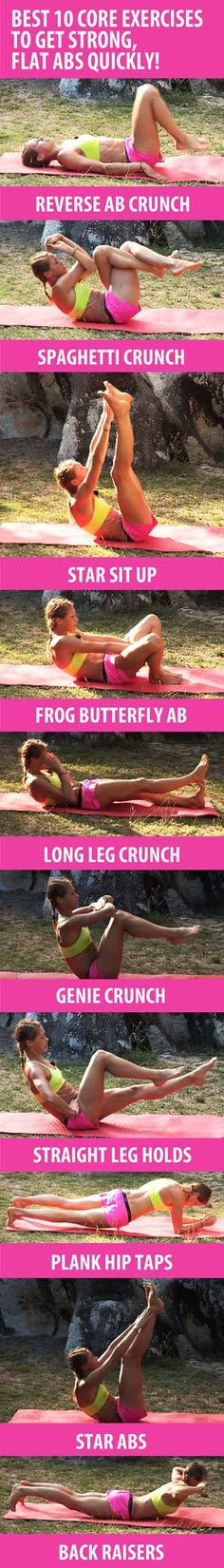 These 10 core exercises will help you sculpt six-pack abs, build core strength, and get rid of belly fat quickly. Recommended reps: BEGINNERS INTERMEDIATE ADVANCED Lose weight while you sleep Great Ab Workouts, Lower Ab Workouts, At Home Workouts, Core Workouts, Belly Fat Workout, Butt Workout, Workout Fitness, Yoga Fitness, Sport Fitness