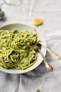 Creamy Greens & Coconut Linguine: nutritious, quick, economical  and VERY tasty. If you really need meat, then pair this with some grilled chicken or shrimp, but we found it very filling and a welcome change from winter meat. I wilted about  1lb  of spinach and 1/2 lb kale and blended this with the coconut milk. You could experiment and try turnip greens or swiss chard and serve with portobello mushrooms. 10/10