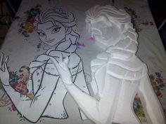 Mi tallado en anime iniciando el proyecto de Elsa de Frozen