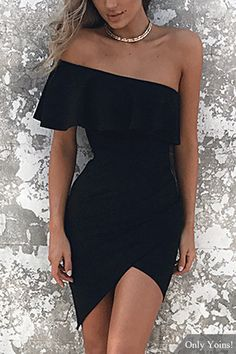 One Shoulder Asymmetrical Bodycon Mini Dress in Black