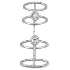Messika 'Amazone Double Pavé' diamond 18k white gold ring ($7,490) ❤ liked on Polyvore featuring jewelry, rings, metallic, 18 karat gold jewelry, white gold rings, 18 karat gold ring, metallic jewelry and 18k ring
