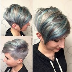 Pretty, Shaved Pixie Hairstyle with Side Bangs - Balayage Hairstyles for Short Hair