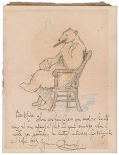 I'd like to think that Tian Tian, the male panda at the National Zoo, handed out cigars to all the other bears to celebrate the birth of his and Mei Xiang's baby late last night.  Frederick Stuart Church letter to Mike Gavin, 1905 or 1906?. Frederick Stuart Church collection, Archives of American Art, Smithsonian Institution.