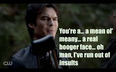 """On last night's """"The Vampire Diaries"""" everyone was on a team, Damon got compelled, and everyone was throwing around insults but Stefan said the Meanest. Klaus Vampire, Vampire Shows, Awesome Stuff, Funny Stuff, Vampires And Werewolves, Nerd Humor, Vampire Diaries The Originals, Ian Somerhalder, Dylan O"""