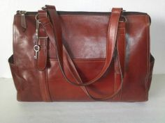 FOSSIL 75082 Red/Rust LEATHER LARGE HOBO SHOULDER TOTE BAG PURSE = Free Shipping
