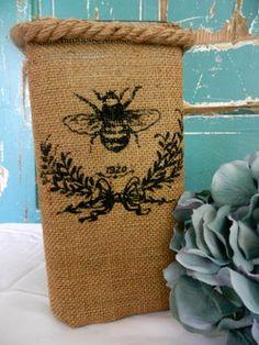 Burlap Vase with Stenciled Bee Design  $14.95  www.detailsforhomeandgarden.com