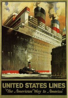 "United States Line - ""The American Way to America."" #unitedstatesline #oceanliners #tugboats"