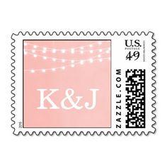 Summer String Lights Wedding Monogram Stamps