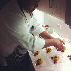 Chef Al Stephens of Todd English's Olives adding finishing touches to his delicious Tres Leche Cake with Chilean Olive Oil & Carmelized Honey Ice Cream dessert!
