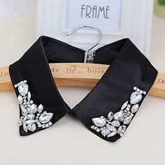 Reversible Black Gemstone Decorated Simple Design Polyester Detachable Collars http://earrings.asumall.com/