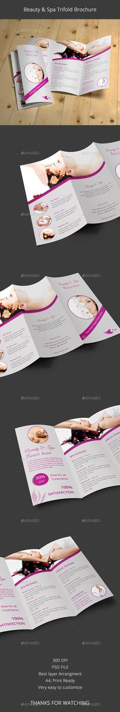Beauty & Spa Trifold Brochure - Brochures Template PSD. Download here: http://graphicriver.net/item/beauty-spa-trifold-brochure/12801903?s_rank=1798&ref=yinkira
