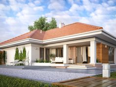 Find home projects from professionals for ideas & inspiration. AMBROZJA 7 by Biuro Projektów MTM Styl - domywstylu. 4 Bedroom House Plans, Family House Plans, Dream House Plans, Single Floor House Design, Small House Design, Residential Building Design, One Storey House, House Construction Plan, Modern Bungalow House