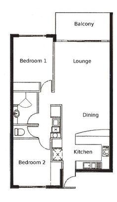 1000 images about 2 bedroom apartment floor plans on for Narrow apartment plans