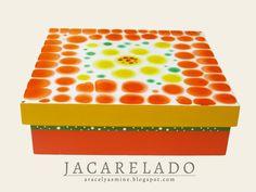 Caja de madera con la técnica de jacarelado | Aracelyasmine - Arte y artesanías
