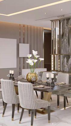 Villa Interior, Home Living Room, Interior Design Living Room, Glamour Living Room, Luxury Interior, Dining Room Table Decor, Dining Room Design, Formal Dinning Room, Design Table