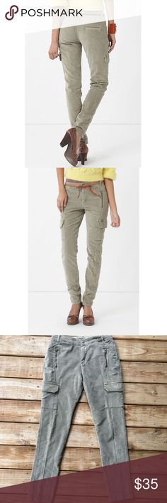 """Anthropologie Olive Green Cargo Moto Skinny Cords Like new condition and so chic! Brand is marrakech and these were purchased from Anthropologie. Waist in the front is 15.5"""". Inseam 32"""". Offers are welcome ☺️ Anthropologie Pants Skinny"""