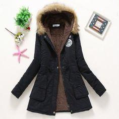 Winter Coat Women 2017 New Parka Casual Outwear Military Hooded Thickening Cotton Coat Winter Jacket Fur Coat Women ClothesCC001