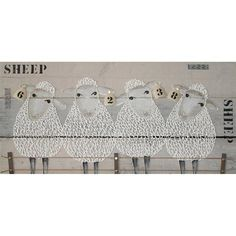 Sheep schilderij op steigerhout Baa Baa Black Sheep, Embroidery Hoop Art, Fabric Material, Painting On Wood, Wood Crafts, Art For Kids, Cow, Projects To Try, House Styles