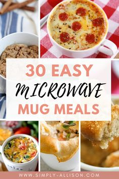 23 Easy Microwave Mug Meals in Under 10 minutes Are you looking for mug meals? Here are 23 easy microwave mug meals that you can make in minutes. The best thing is you can cook it all in a mictowave Healthy Mug Recipes, Easy Microwave Recipes, Microwave Dinners, Cooking Recipes, Healthy Microwave Meals, Microwave Food, Healthy Food, Dog Recipes, Salads
