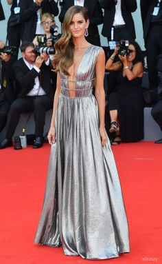 Izabel Goulart Metallic Silver Glitter Pleated Prom Gown with Plunging  Neckline Venice Film Festival 2018 Red Carpet 5d7e6e779852