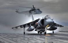 Farewell to a Falklands icon: Harrier GR9 fighter jet takes off from the Ark…
